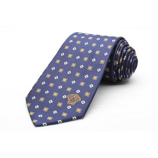 Versace Men's Medusa Logo Diamond Checkered Pattern Silk Neck Tie