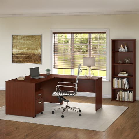 Commerce 60W L Shaped Desk with Drawers and Bookcase by Bush Furniture