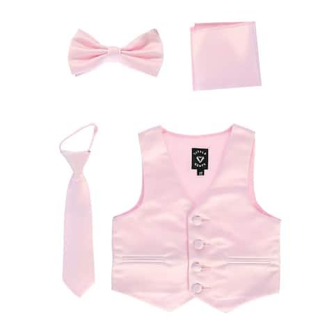 Lito Baby Boys Pink Satin Vest Zipper Tie Hanky Bowtie Clothing Set 18-24M - 18-24 Months