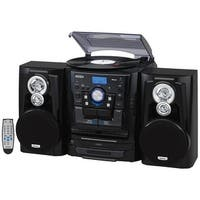 JENSEN JENJMC1250B Jensen JMC-1250 Bluetooth 3-Speed Stereo Turntable and 3 CD Changer with Dual Cassette Deck