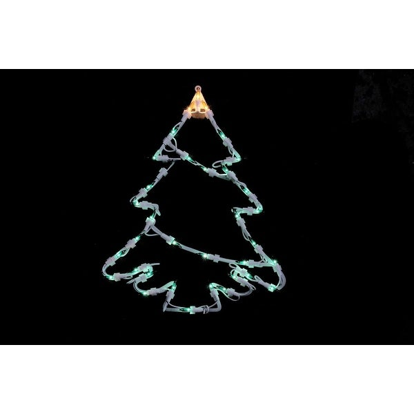 "15"" Lighted Tree Christmas Double Sided Window Silhouette Decoration"