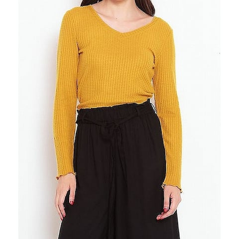 Planet Harvest Gold Womens Large Waffle-Knit Crop Top