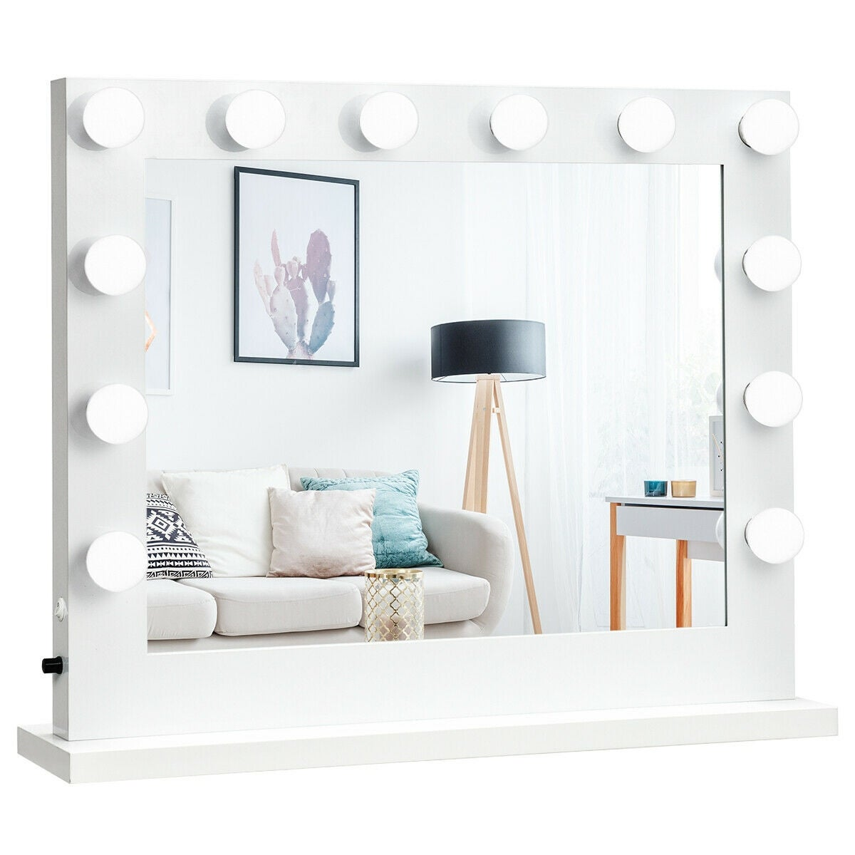 Shop Gymax Vanity Mirror Dimmer Light Hollywood Makeup Mirror Wall Mounted 14 Led Bulbs White Overstock 23130748