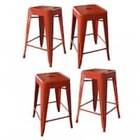AmeriHome BS24ORNGSET Loft Orange 24 in. Metal Bar Stool, 4 Piece