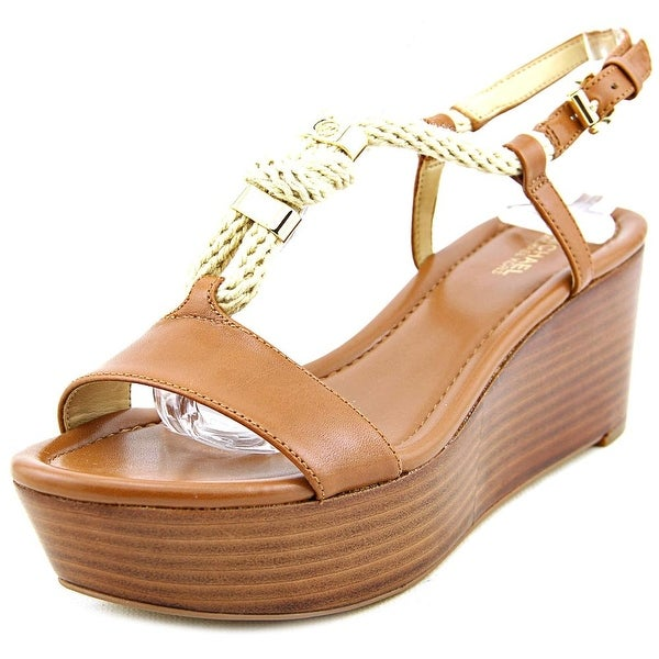 Michael Michael Kors Holly Wedge Women Open Toe Leather Brown Wedge Sandal