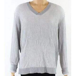 Alfani NEW Heather Gray Mens Size XL Knit Ribbed-Trim V-Neck Sweater
