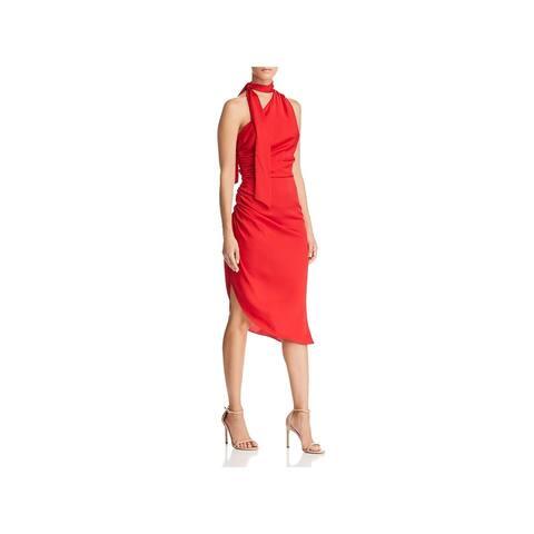 Milly Womens Coleen Cocktail Dress Silk One Shoulder - Scarlet - 6