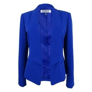 Kasper Women's Plus Size Shawl-Collar Flyaway Blazer (14W, Cobalt) - cobalt - 14W