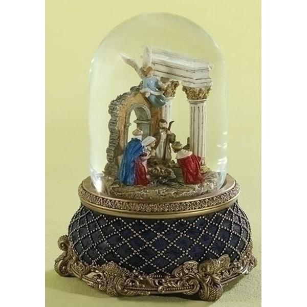 "Set of 2 Majestic Rotating Musical Nativity Christmas Snow Globe Glitterdome 8"""