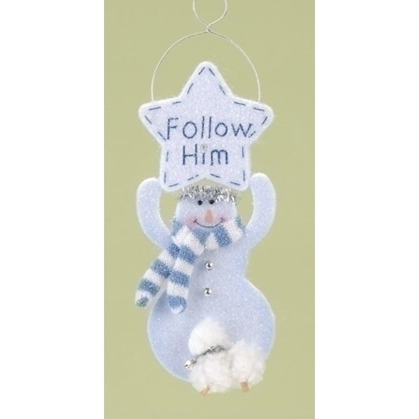 "Club Pack of 12 Religious ""Follow Him"" Snowman Angel Christmas Ornaments 8"" - WHITE"