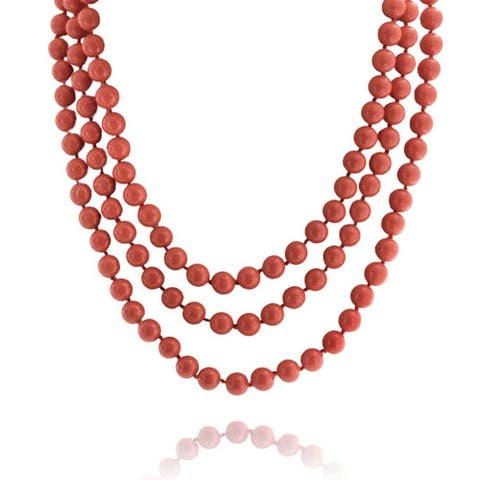 Orange Red Coral Color Beads Endless Layering Strand Necklace 69 Inch