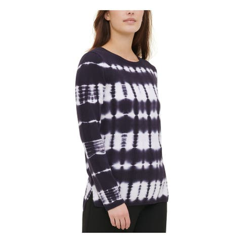 CALVIN KLEIN Womens Navy Color Block Long Sleeve Sweater Size L