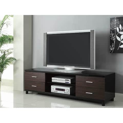 Wasser Glossy Black and Walnut 4-drawer TV Console