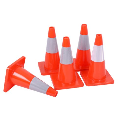 Costway 5PCS Traffic Cones 18'' Slim Fluorescent Reflective Road Safety Parking Cones