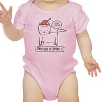 Meowy Catmas Santa Cat Cute Graphic Baby Bodysuit Pink Cotton Top
