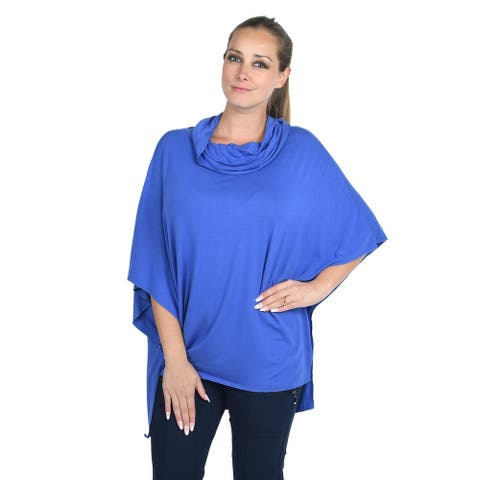 Shop LC JOVIE Blue Viscose Loose Drape Medium Sleeve Cowl Neck Top 1X