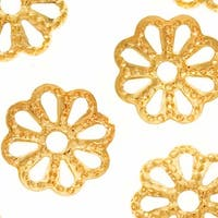 22K Gold Plated Open Petal Flower Bead Caps 6mm (50)