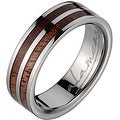 Titanium Wedding Band With Koa Wood Inlays 6 mm - Thumbnail 0