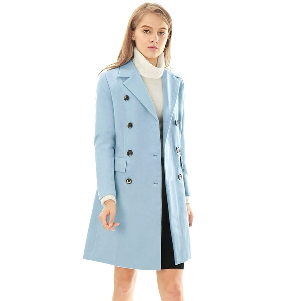 Women's Long Jacket Notched Lapel Double Breasted Trench Coat. Opens flyout.