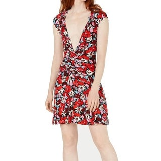 Link to Free People Women's Dress Red Size XS Floral Ribbed Ruched Sheath Similar Items in Dresses