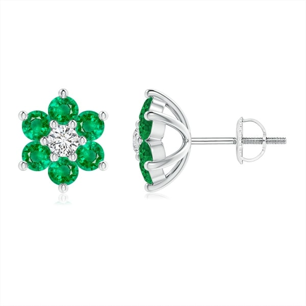 Angara Emerald Flower Stud Earrings in Platinum TGGdfew