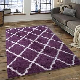 "Allstar Purple Dense High Pile Posh Shaggy Area Rugs, Textured Frieze, Soft, Comfortable, Modern & Contemporary (5' 0"" x 7' 0"")"