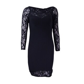 Betsy & Adam Women's Petite Illusion Lace Sheath Dress - Black