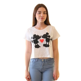 Disney Mickey Mouse And Minnie Mouse Kissing Silhouette Women's White Crop Top