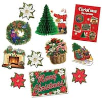 Club Pack of 60 Santa Claus, Wreath, Tree and Fireplace Christmas Decorama Cutout Decorations - Multi