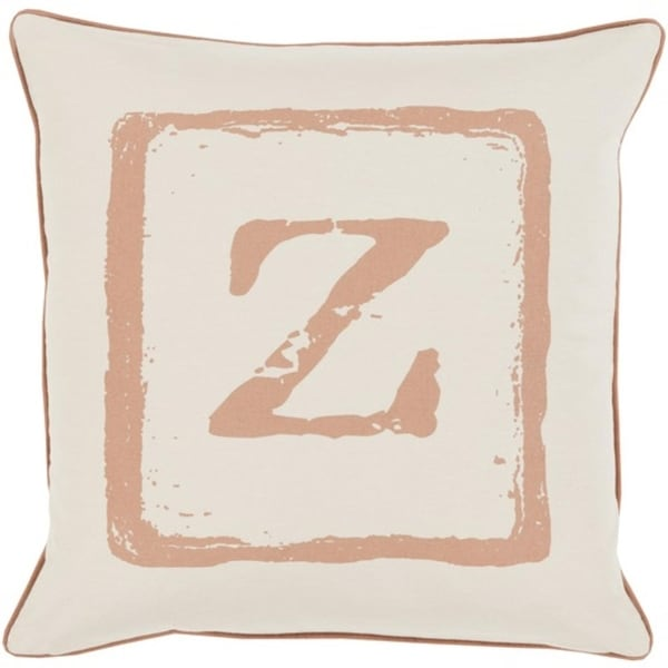"18"" Beige and Espresso Brown ""Z"" Big Kid Blocks Decorative Throw Pillow - Down Filler"