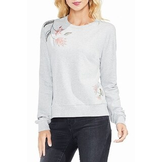 Two by Vince Camuto Gray Womens Large L Embroidered Crewneck Sweater
