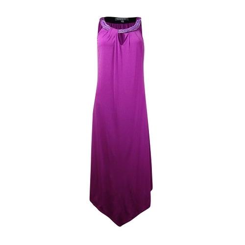 NY Collection Women's Keyhole Metal Embellished Halter Dress - purple wine