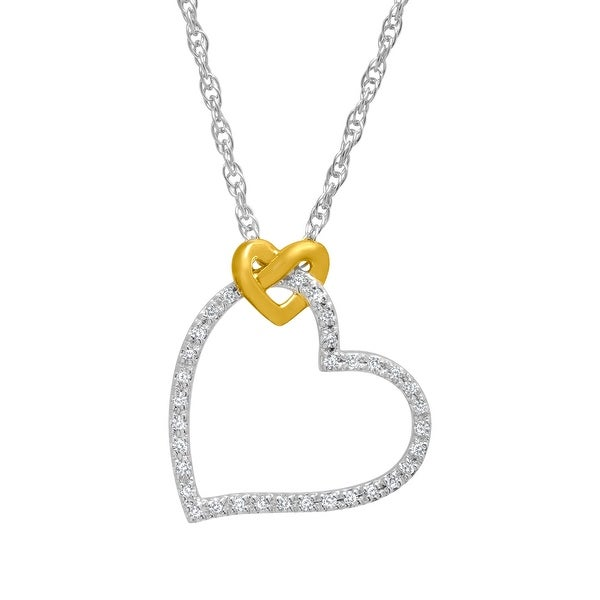 1/10 ct Diamond Heart Pendant in 14K Gold-Plated Sterling Silver