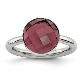 Chisel Stainless Steel Polished Maroon Glass Ring