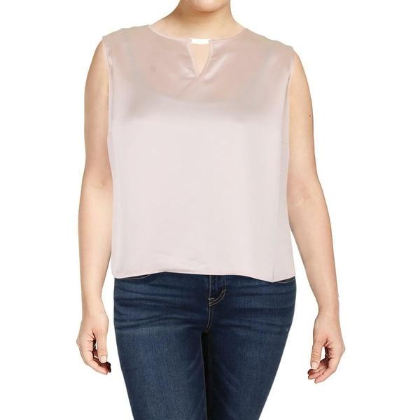 df59155fc1 Shop Calvin Klein Pink Women s Size 2X Plus Charmeuse Keyhole Blouse ...