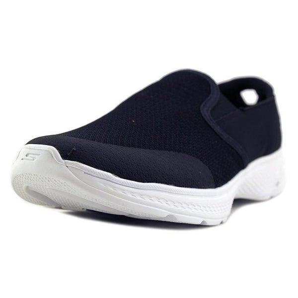 Skechers Go Walk 4 - Contain Men D Round Toe Canvas Black Walking Shoe
