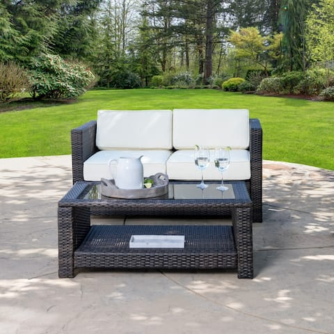 Abbyson Emerson Outdoor Wicker Patio Loveseat and Coffee Table