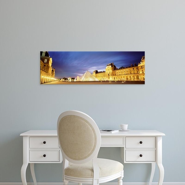 Easy Art Prints Panoramic Images's 'Light Illuminated In The Museum, Louvre Pyramid, Paris, France' Premium Canvas Art
