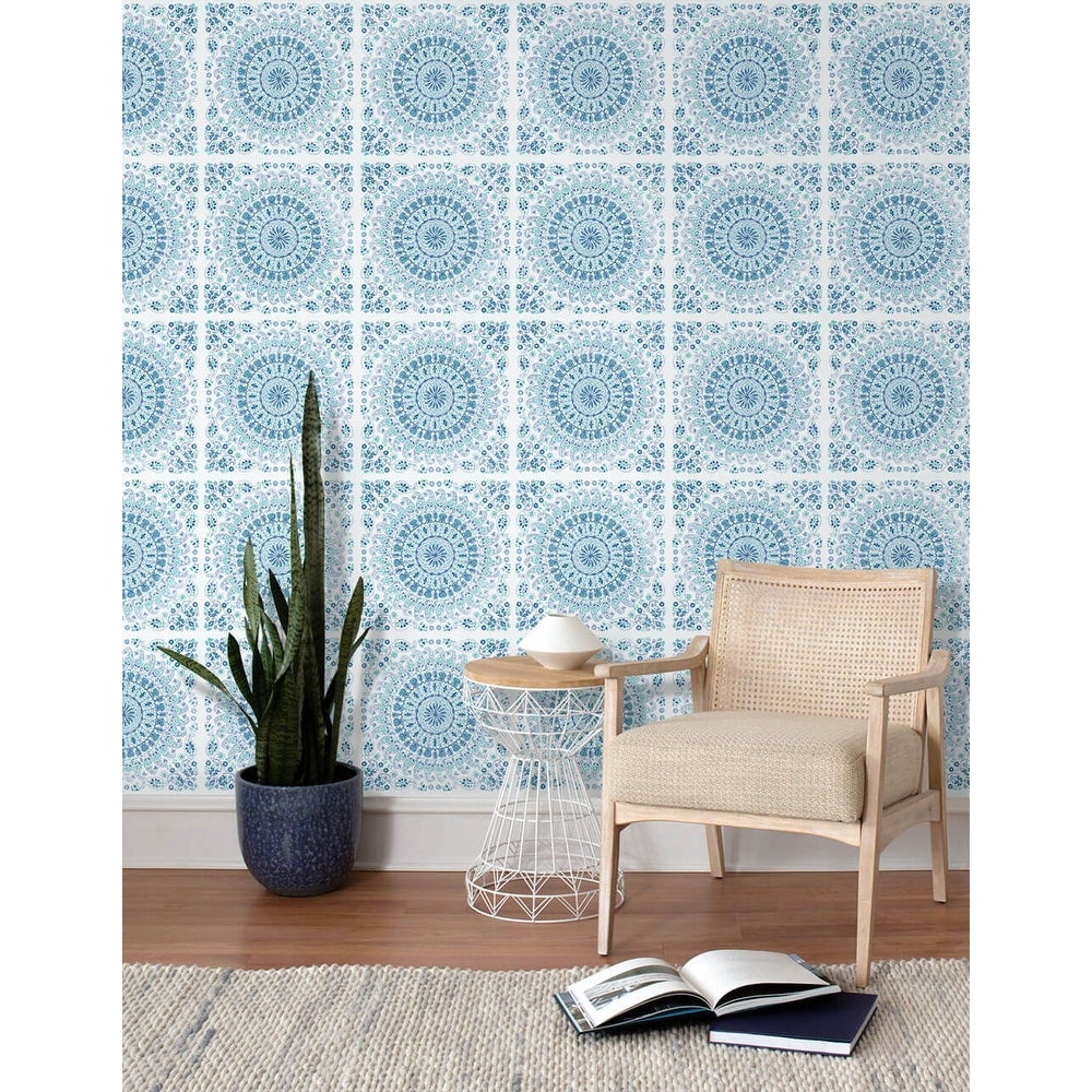Shop Nextwall Mandala Bohemian Peel And Stick Removable Wallpaper 20 5 In W X 18 Ft L Overstock 31473073