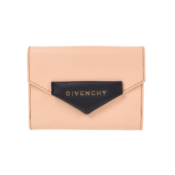 Givenchy Solid Beige Brown Calf Leather Bifold Wallet