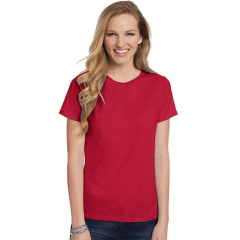 Hanes Women's Relaxed Fit Jersey ComfortSoft® Crewneck T-Shirt - Size - L - Color - Deep Red