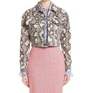 Altuzarra NEW Gray Natural Womens Size 10 Atoka Python Silk Jacket