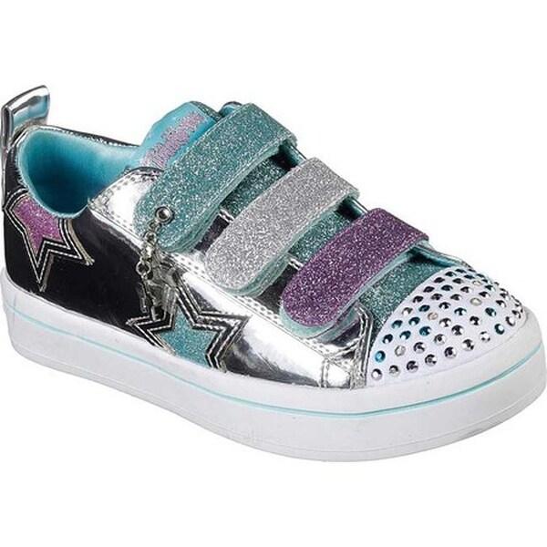 Skechers Girls' Twinkle Toes Twi Lites Twinkle Stars Sneaker SilverMulti