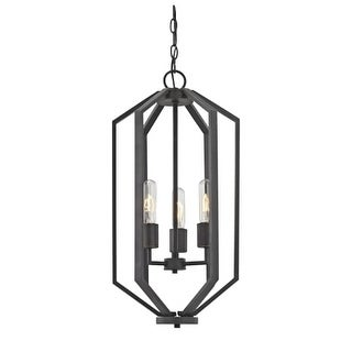 "Dolan Designs 1141 Hexagon 12"" Wide 3 Light Cage Style Chandelier with Open Metal Frame"