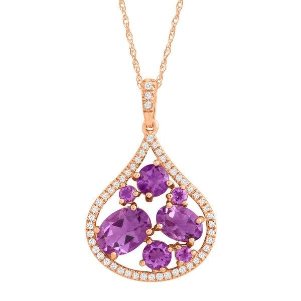 1 3/4 ct Natural Amethyst & 1/6 ct Diamond Teardrop Pendant in 14K Rose Gold - Purple
