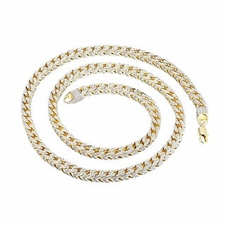 "Sterling Silver Franco Link Necklace 14k Gold Tone Lab Diamond 30"" 7mm"