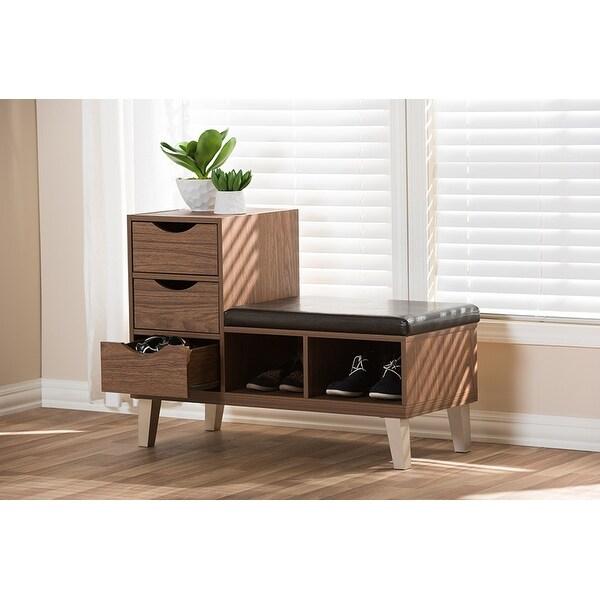 Shop Arielle Walnut Brown Wood 3 Drawer Shoe Storage