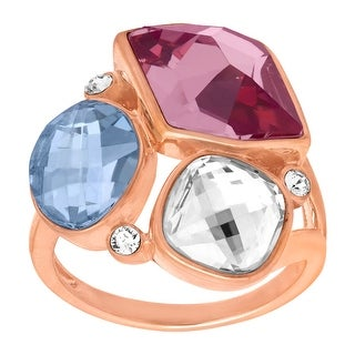 Crystaluxe Cluster Ring with Swarovski Crystals in 18K Rose Gold-Plated Sterling Silver - Purple