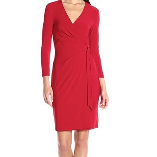 Anne Klein NEW Red Women's Size 12 Side Tie V-Neck Faux Wrap Dress