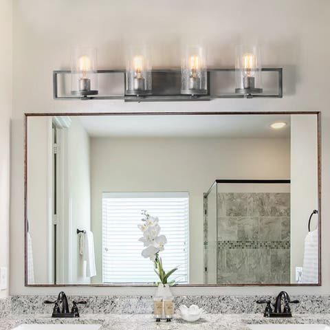 "Carbon Loft Bithiah Rustic Bathroom Vanity Lights Glass Wall Sconce - W31.5""xH7.5""xE5.5"""
